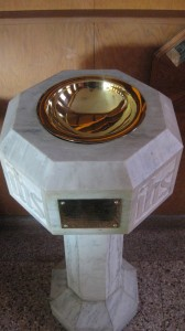 baptismal font at St. Andrew Memorial Anglican Church